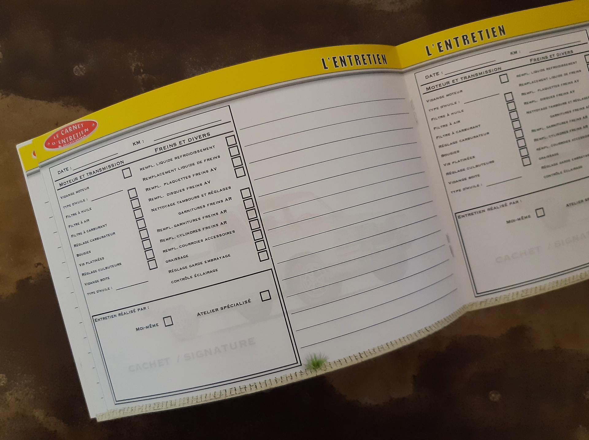 carnet d'entretien Renault 16 R16