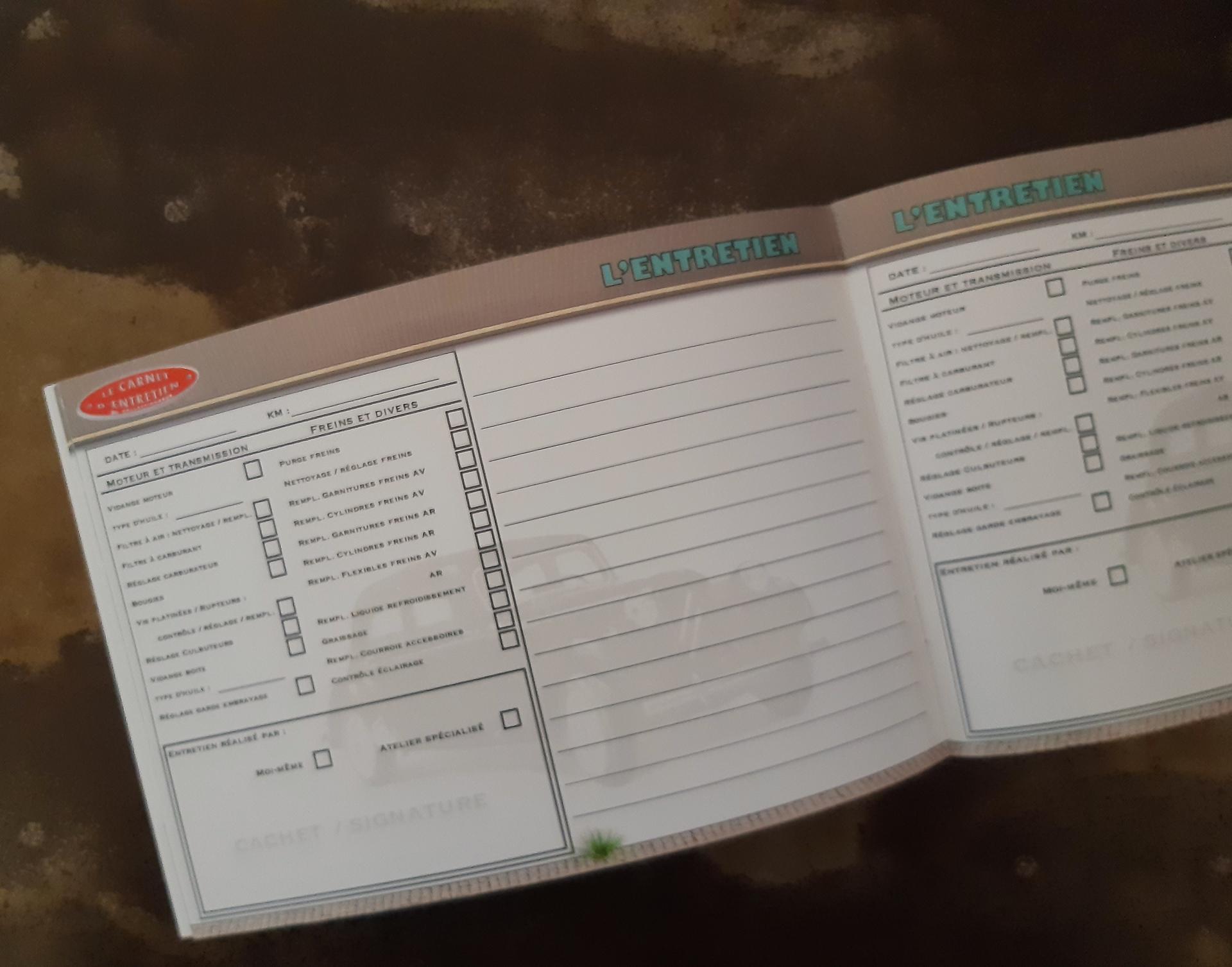 carnet d'entretien traction