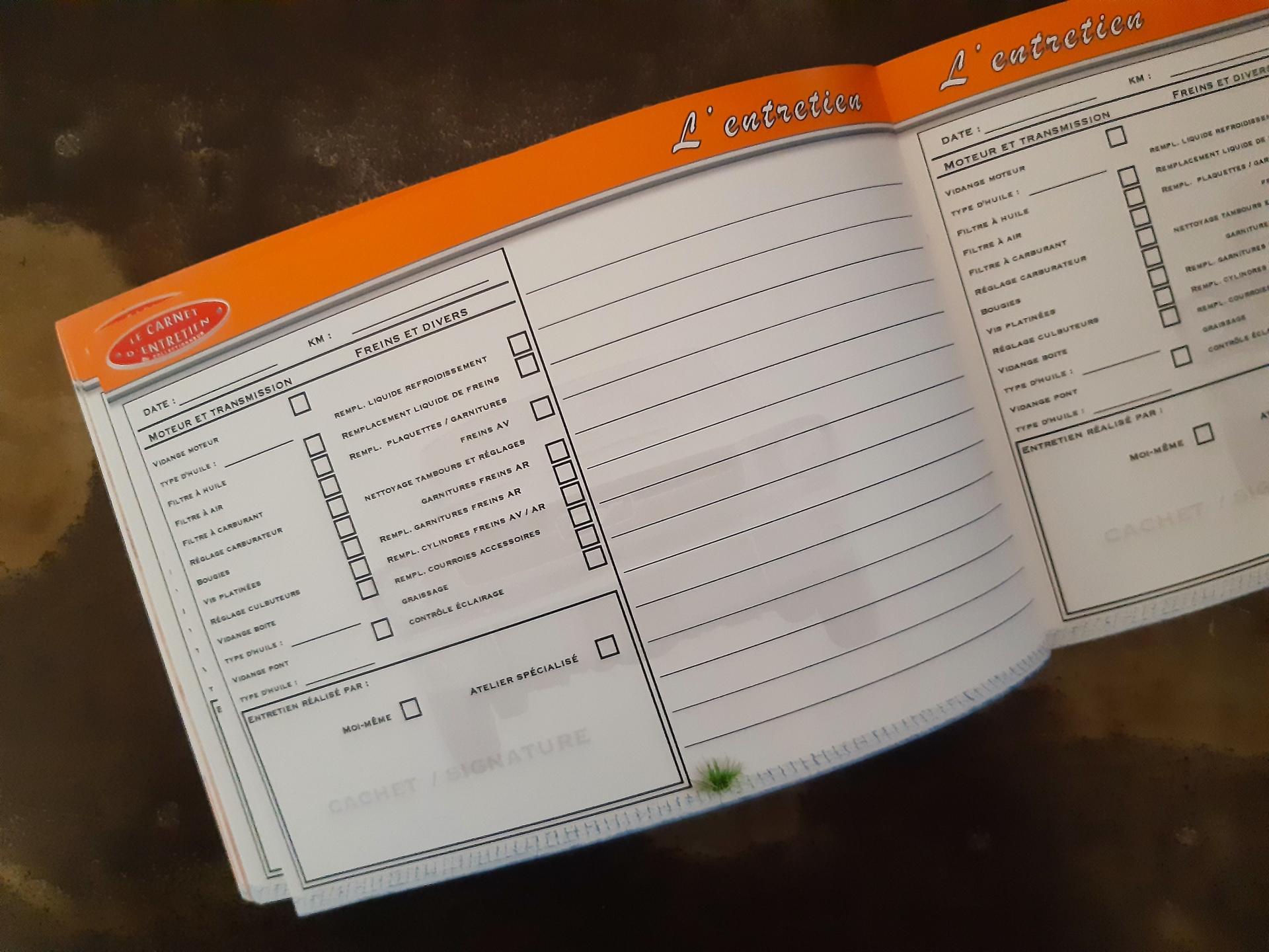 carnet d'entretien ford mustang