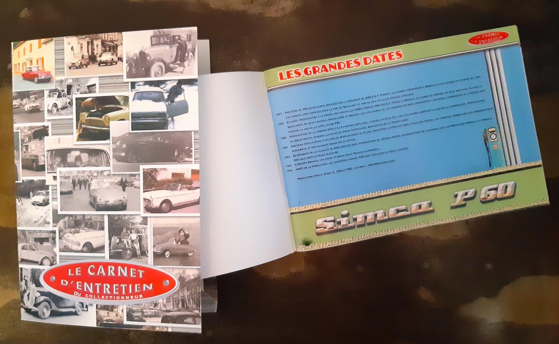carnet d'entretien simca aronde P60