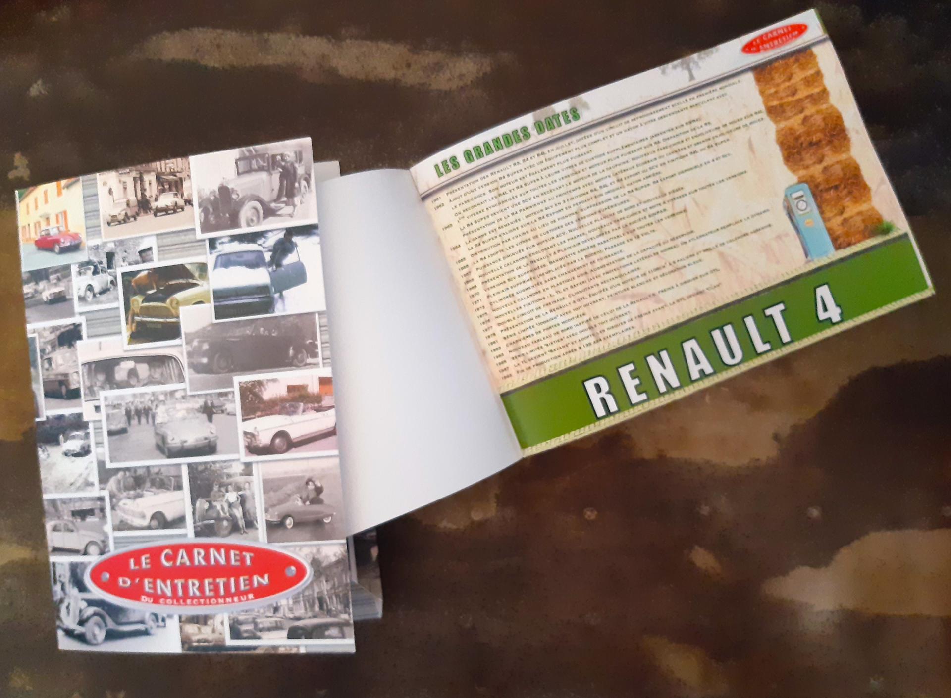 carnet d'entretien 4L / renault 4