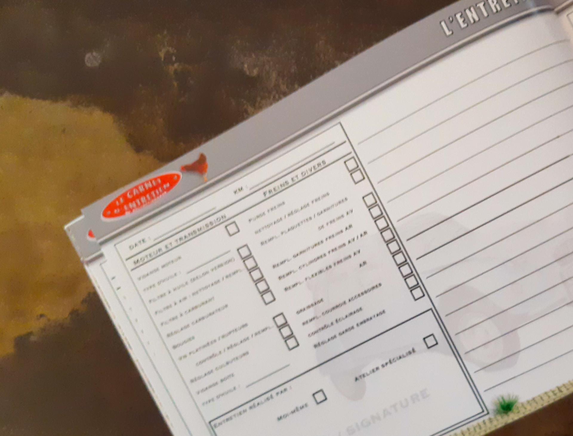 carnet d'entretien 2CV