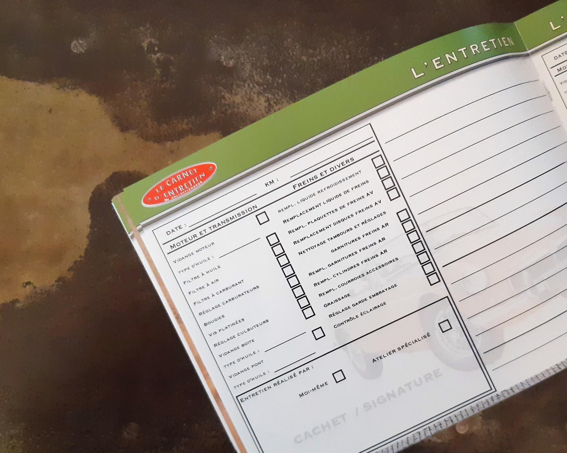 carnet d'entretien MGB